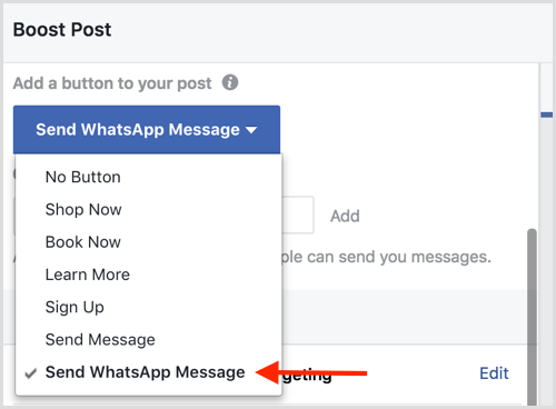 Whatsapp Chat Option in FB Ads